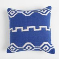 Ancient script hand loomed cotton cushion cover in blue