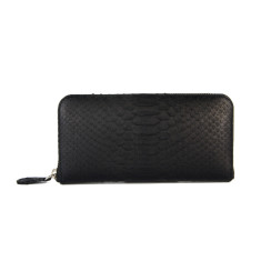 Black python leather long wallet