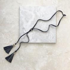 Double Tassel Necklace In Metallic Dark Grey