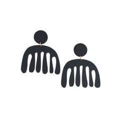 Noir Black Acrylic Undulate Earrings