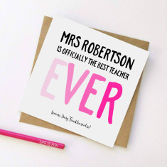 Personalised best ever teacher card