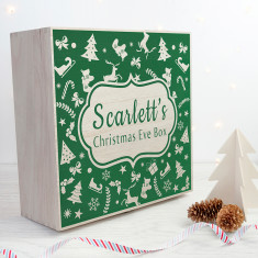 Personalised Christmas Eve Box With Festive Pattern - Large - Green