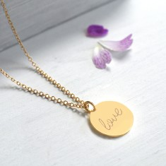 Personalised Gold Love Disc Necklace