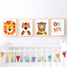 Lions and tigers and bears oh my set of prints