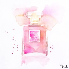 Chanel Perfume Bottle watercolour - Sweet pink