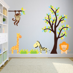 Tree and Branch With Jungle Animals Wall Sticker
