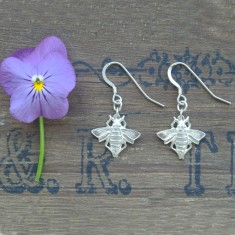 Mabel silver bee earrings