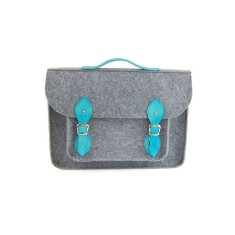 Grey felt laptop bag with turquoise leather