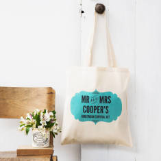 Personalised honeymoon survival kit tote bag