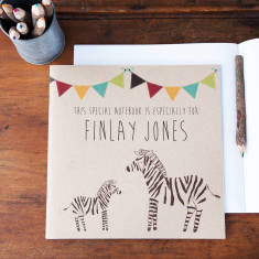Personalised zebra notebook