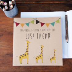Personalised giraffe notebook