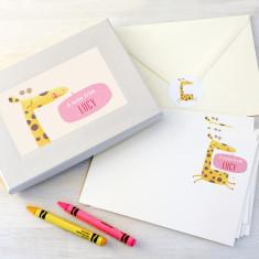 Personalised giraffe notecards writing set