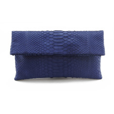Denim blue python leather classic foldover clutch