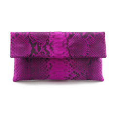Pink motif python leather classic foldover clutch