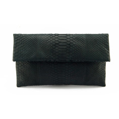 Black python leather classic foldover clutch
