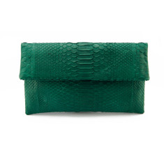 Moss green python leather classic foldover clutch