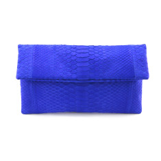 Cobalt blue python leather classic foldover clutch