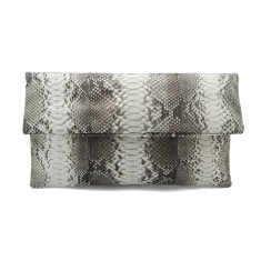 Natural python leather classic foldover clutch