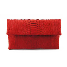 Scarlet red python leather classic foldover clutch