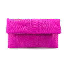 Hot pink python leather classic foldover clutch