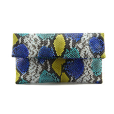 Multicolour blue and lemon python leather classic foldover clutch