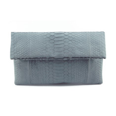 Ash grey python leather classic foldover clutch