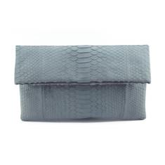 Ash grey python leather classic foldover clutch