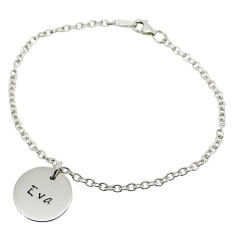 Personalised small sterling silver circle bracelet