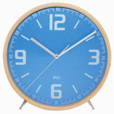 Mantel clock with powder blue face and wooden rim