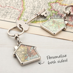 Personalised map house keyring