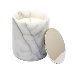 Marble candle with silver lid (various scents)