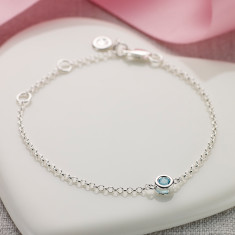 March birthstone bracelet in aquamarine