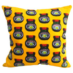 Marmite yellow cushion