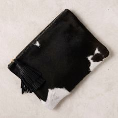 Masai Mara clutch in black and white
