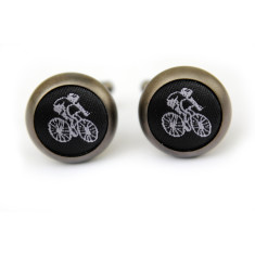 Cyclist cufflinks in matt black