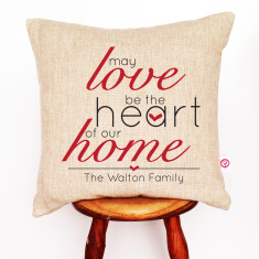 May love be the heart of our home personalised linen cushion cover