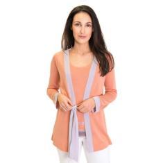 Silk Cashmere Kimono Cardigan In Peach