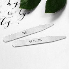 Personalised Sterling Silver Collar Stays