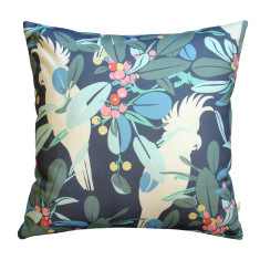 Moreton Bay fig & cockatoo cushion cover in navy