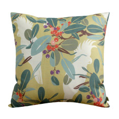 Moreton Bay fig & cockatoo cushion cover in chartreuse