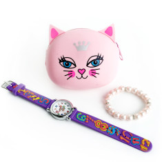 Pink cat jewellery gift set