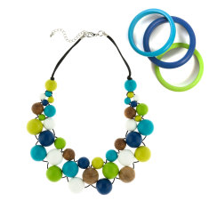 Atlantis bubble necklace and thin bangles matching set