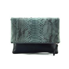 Grey motif python & milled black leather reversible foldover zip clutch