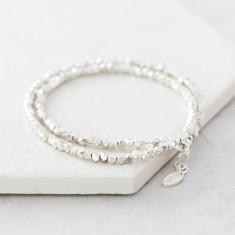Double Silver Nugget Wrap Bracelet