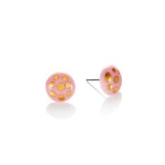 Gold polka dot porcelain stud in pink