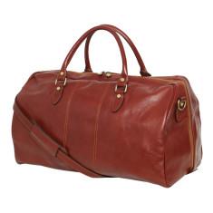 Albertis leather weekender bag in brown