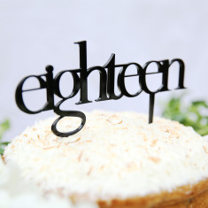 Eighteen birthday cake topper (various colours)