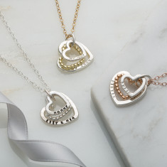 Personalised Family Names Bead Heart Necklace