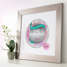 Personalised Silver Anniversary Circle Word Art