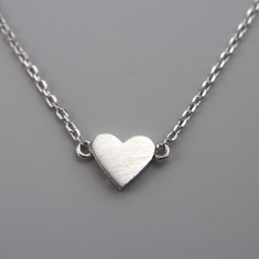Tiny solid silver heart necklace